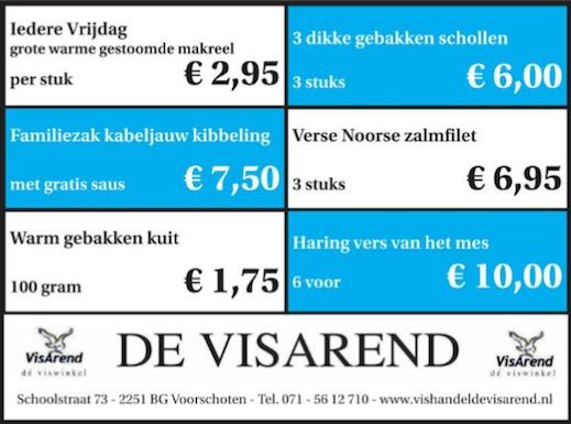 Aanbiedingen vishandel de Vishandel in Voorschoten vanaf 10 maart 2016.