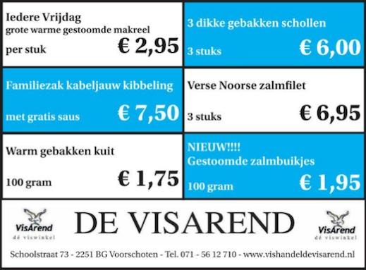 Aanbiedingen vishandel de Vishandel in Voorschoten vanaf 17 maart 2016.