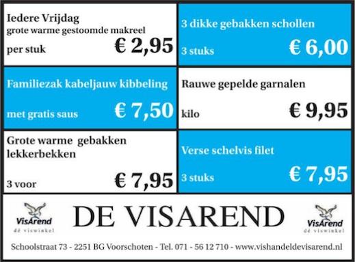 Aanbiedingen vishandel de Vishandel in Voorschoten vanaf 24 maart 2016.
