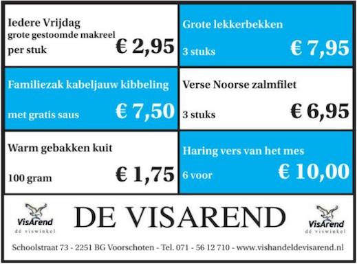 Aanbiedingen vishandel de Vishandel in Voorschoten vanaf 3 maart 2016.