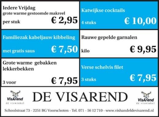 Aanbiedingen vishandel de Vishandel in Voorschoten vanaf 21 april 2016.