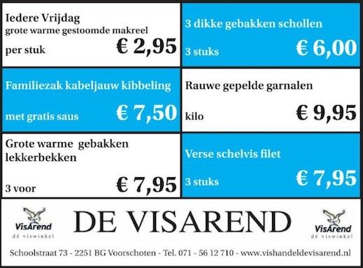 Aanbiedingen vishandel de Vishandel in Voorschoten vanaf 7 april 2016.