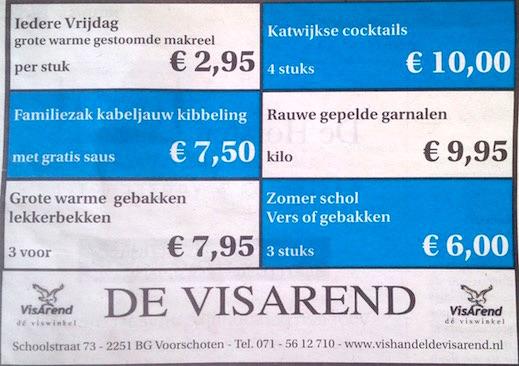 Aanbiedingen vishandel de Vishandel in Voorschoten vanaf 12 mei 2016.