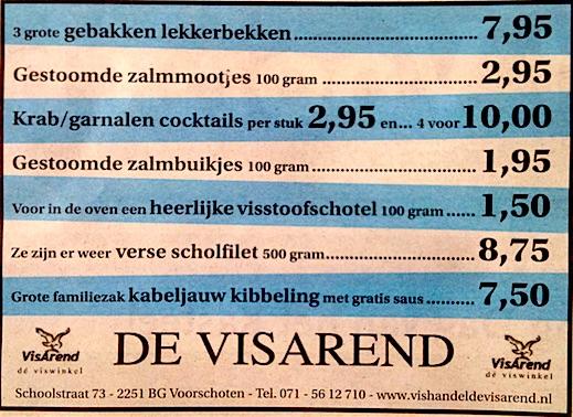 Aanbiedingen vishandel de Vishandel in Voorschoten vanaf 19 mei 2016.