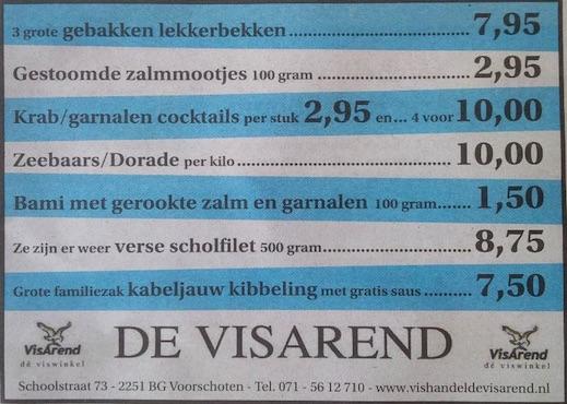 Aanbiedingen vishandel de Vishandel in Voorschoten vanaf 26 mei 2016.