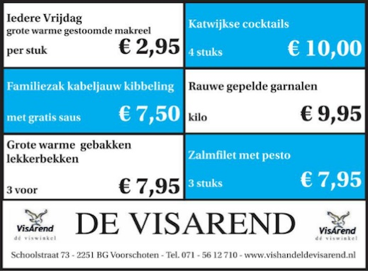 Aanbiedingen vishandel de Vishandel in Voorschoten vanaf 5 mei 2016.