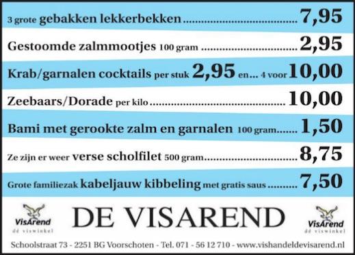 Aanbiedingen vishandel de Vishandel in Voorschoten vanaf 2 juni 2016.