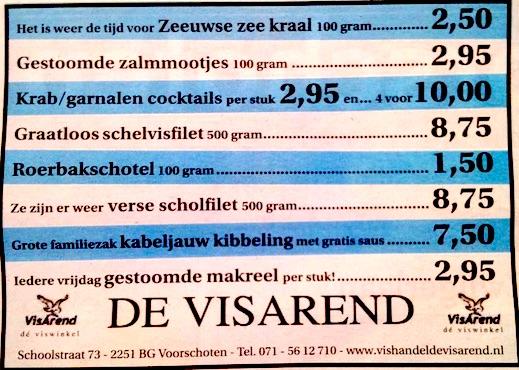 Aanbiedingen vishandel de Vishandel in Voorschoten vanaf 9 juni 2016.