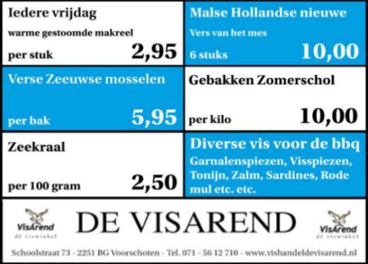 Aanbiedingen vishandel de Vishandel in Voorschoten vanaf 14 juli 2016.