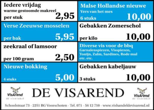Aanbiedingen vishandel de Vishandel in Voorschoten vanaf 21 juli 2016.