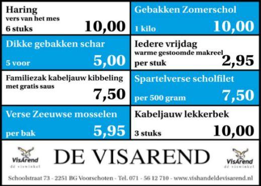 Aanbiedingen vishandel de Vishandel in Voorschoten vanaf 7 juli 2016.