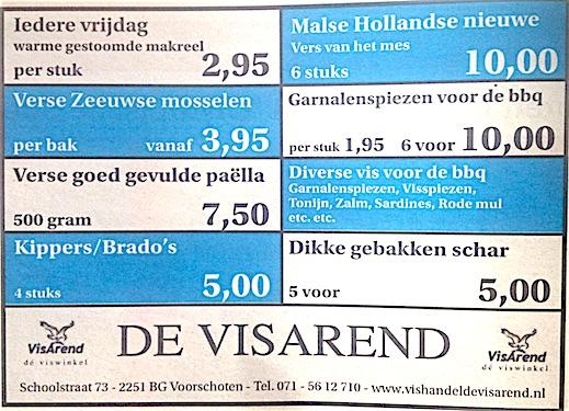 Aanbiedingen vishandel de Vishandel in Voorschoten vanaf 18 augustus 2016.