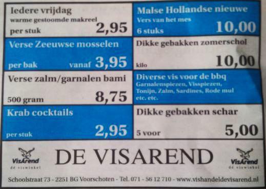 Aanbiedingen vishandel de Vishandel in Voorschoten vanaf 25 augustus 2016.