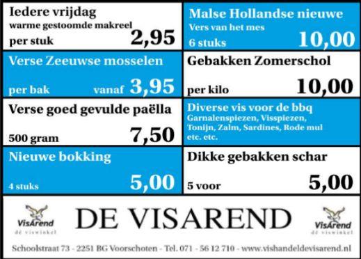 Aanbiedingen vishandel de Vishandel in Voorschoten vanaf 4 augustus 2016.