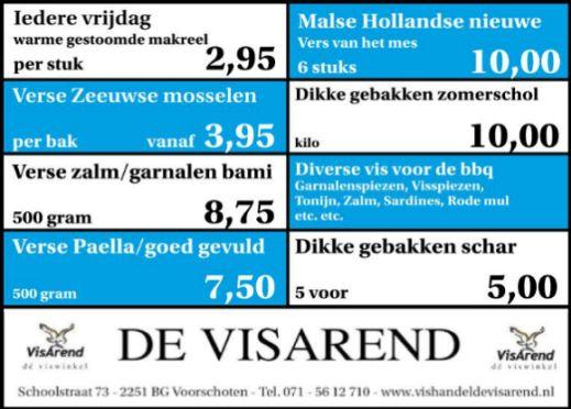 Aanbiedingen vishandel de Vishandel in Voorschoten vanaf 1 september 2016.