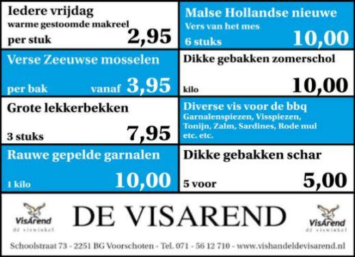 Aanbiedingen vishandel de Vishandel in Voorschoten vanaf 15 september 2016.