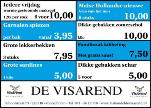 Aanbiedingen vishandel de Vishandel in Voorschoten vanaf 22 september 2016.
