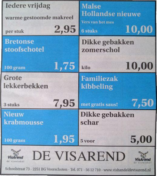 Aanbiedingen vishandel de Vishandel in Voorschoten vanaf 29 september 2016.