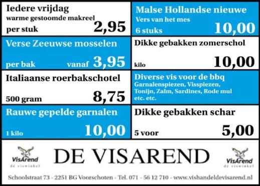 Aanbiedingen vishandel de Vishandel in Voorschoten vanaf 8 september 2016.