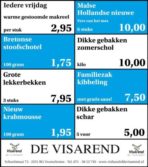 Aanbiedingen vishandel de Vishandel in Voorschoten vanaf 6 oktober 2016.