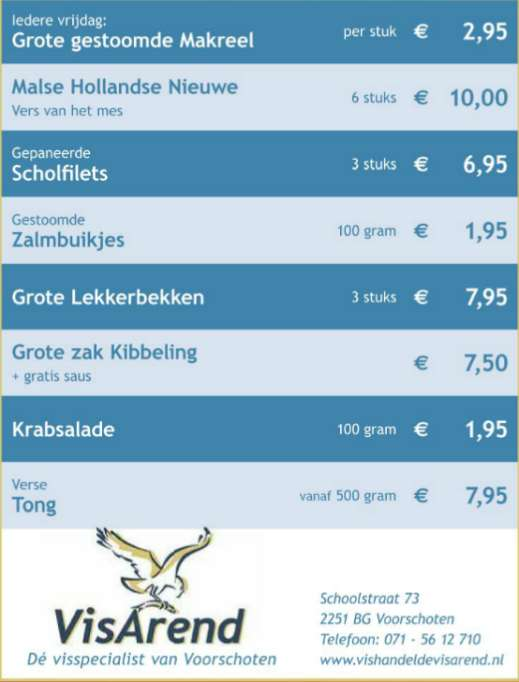 Aanbiedingen vishandel de Vishandel in Voorschoten vanaf 17 november 2016.