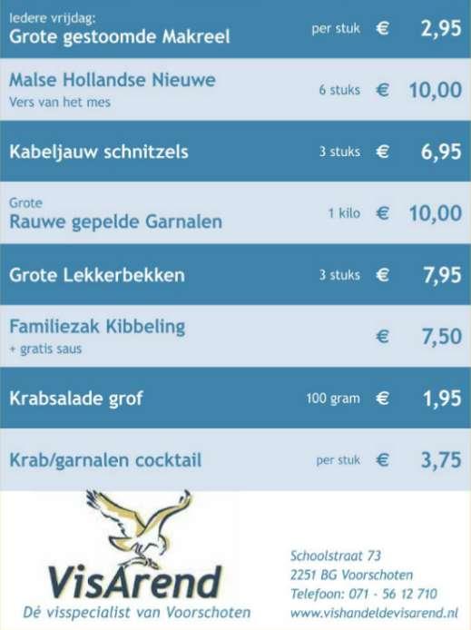 Aanbiedingen vishandel de Vishandel in Voorschoten vanaf 24 november 2016.
