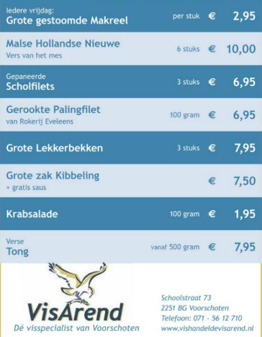 Aanbiedingen vishandel de Vishandel in Voorschoten vanaf 3 november 2016.