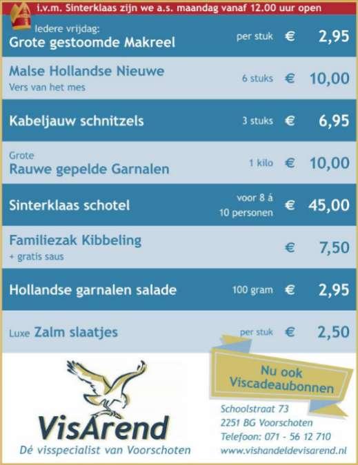 Aanbiedingen vishandel de Vishandel in Voorschoten vanaf 1 december 2016.