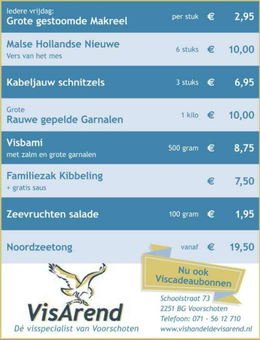 Aanbiedingen vishandel de Vishandel in Voorschoten vanaf 12 januari 2017.