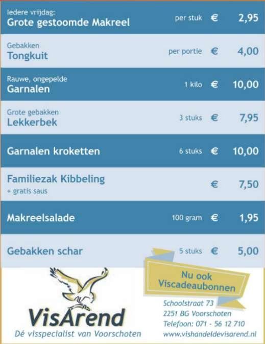 Aanbiedingen vishandel de Vishandel in Voorschoten vanaf 19 januari 2017.