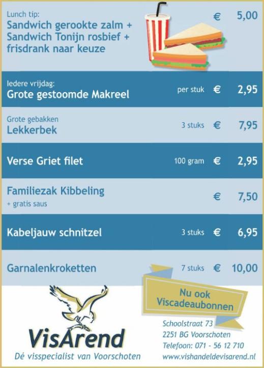 Aanbiedingen vishandel de Vishandel in Voorschoten vanaf 30 maart 2017.