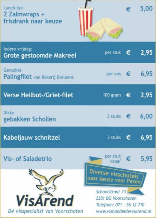 Aanbiedingen vishandel de Vishandel in Voorschoten vanaf 13 april 2017.