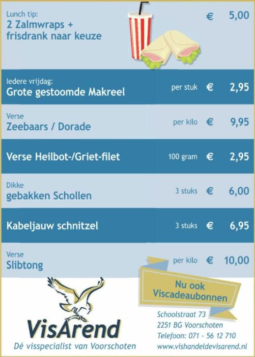Aanbiedingen vishandel de Vishandel in Voorschoten vanaf 20 april 2017.