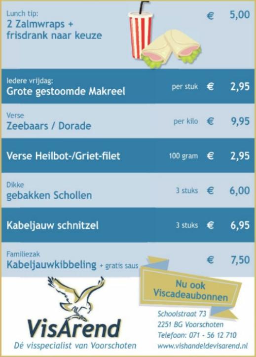 Aanbiedingen vishandel de Vishandel in Voorschoten vanaf 27 april 2017.