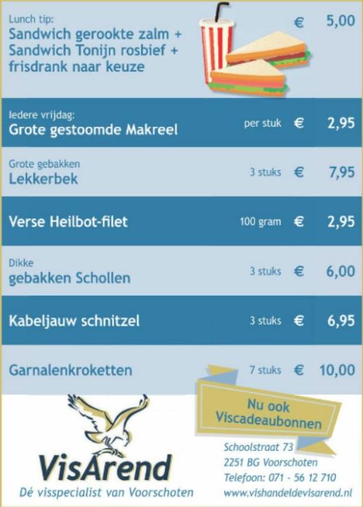 Aanbiedingen vishandel de Vishandel in Voorschoten vanaf 6 april 2017.