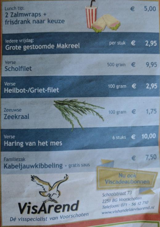 Aanbiedingen vishandel de Vishandel in Voorschoten vanaf 25 mei 2017.