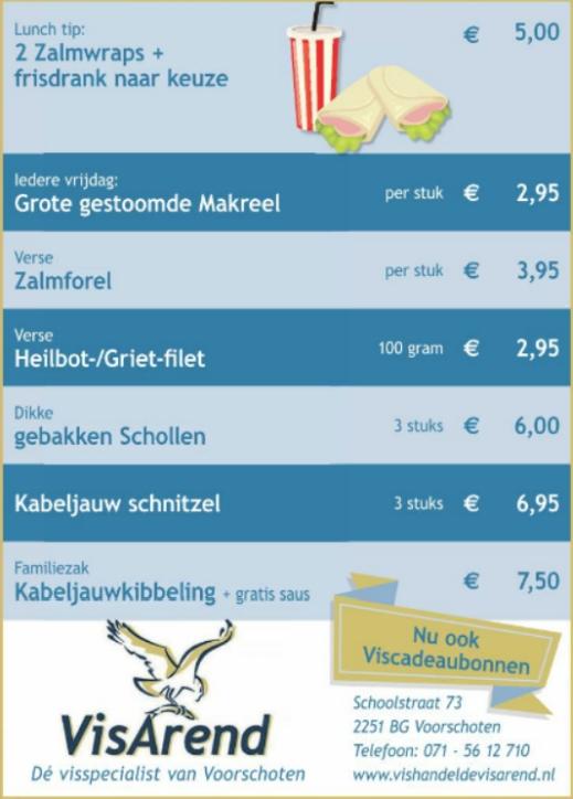 Aanbiedingen vishandel de Vishandel in Voorschoten vanaf 4 mei 2017.