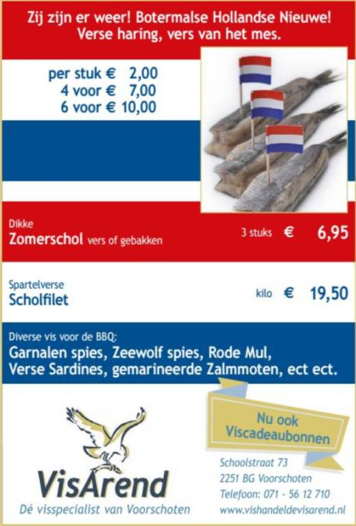 Aanbiedingen vishandel de Vishandel in Voorschoten vanaf 29 juni 2017.