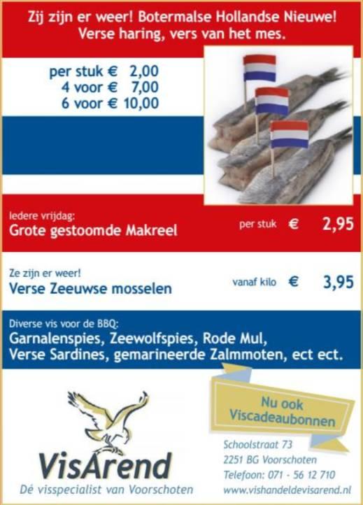 Aanbiedingen vishandel de Vishandel in Voorschoten vanaf 13 juli 2017.